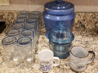 Crock Cookie Har  chipped  12 Blue Glasses  Blue Candy Jar and 2 Coffee Mugs