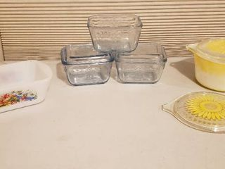 3 Fire King Refrigerator Dishes  2 lids only  Pyrex Bowls  2 lids  and GlasBake loaf Pan