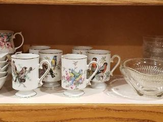 lotus Dishes  Bird Mugs  Clear Bowls  and Milk Glass Bowls