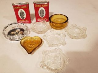 Glass Ashtrays and Prince Albert Tobacco  tobacco in can