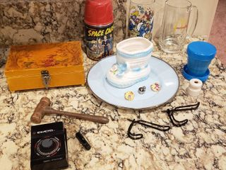 Jewelry Box  Tom Corbett Space Cadet Thermo  Glasses  Exacto Metronome and other items
