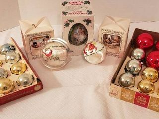 Vintage Christmas Ornamemts  Coby Glass and Silk Wrap