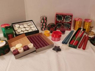 Decorative Christmas Candles and Assorted Ribbon