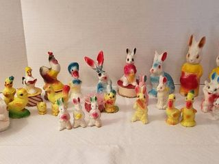 Vintage Easter Chalkware  Candles  Plush Bunny