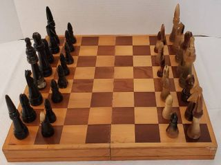 Vintage Chess Set  Wood Board and Storage w  Carved Horn Pieces