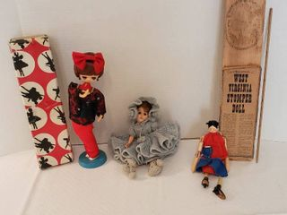 2 Vintage Dolls and a West Virginia Stomper Doll which needs a few repairs