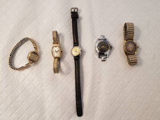 ladies Timex Electric 10K Rolled  Caravelle N5  Timex 400 17 Jewels  Timex Waterproof and l G CASS 17 Jewels Watches