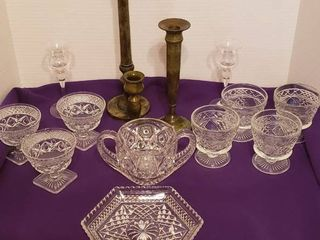 Pressed Glass Dishes  Glass   Metal Candlesticks  Spooner  Sorbet  and Hexagon Serving Dish