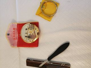 Whiting Davis Bracelet  Make up Compact  Vintage Comb w  Silver Accent and Bakelitr Handle Cuticle Remover