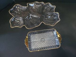 Gold Rimmed Glass Divided Relish Trays