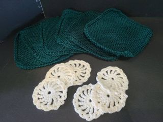 Crocheted Hot Pan Holders with Crotcheted Coasters