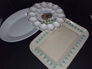 Handpainted Italian Egg Tray with Charles Meakin Engliah Ironstone China Serving Tray