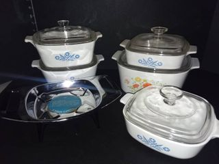 Corning Ware Casserole Dishes with lids and Candle Warmer Stand