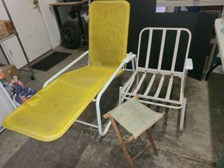 Yellow lounge Chair with White Metal Patio Chair No Cushion and Canvas and Wood Sitting Stool