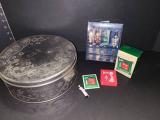 Barbie Evening Case and Miniature Hallmark Christmas Ornament with Various Holiday Items