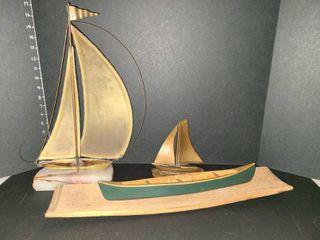 John DeMott Brass and Onyx Ship Decor with Assorted Nautical Decor