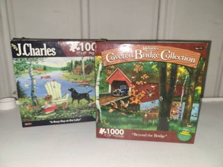 J Charles 1000 Piece Puzzles lot of 2