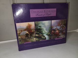 Thomas Kinkade Painter of light Deluxe Puzzle Set of 3 Puzzles 500 Pieces Each