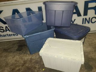 Sterilite and Rubbermaid Storage Totes with lids with Folding Top Keep Box and 2 Totes without lids