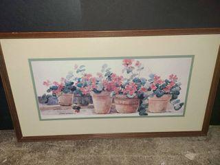 Donna Darton Framed Flower Pot Art 17 x 31 in