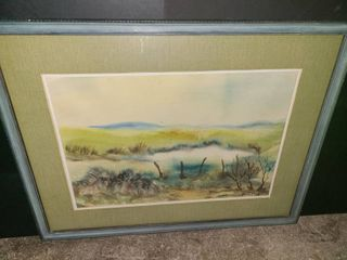 M Hellor Framed landscape Watercolor 23 x 30 in