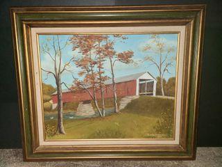 Martha Osborne Framed Canvas Covered Bridge Painting 23 x 27 in