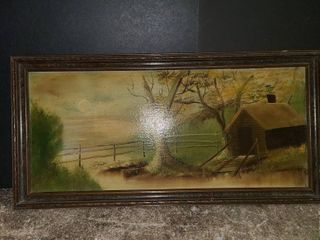 Framed Cabin Painting 9 5 x 20 in