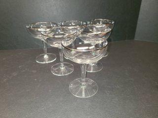 Silver Rimmed Glasses Set of 6