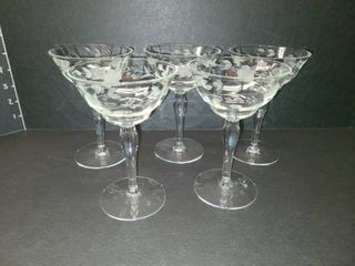 Etched Glasses lot of 5