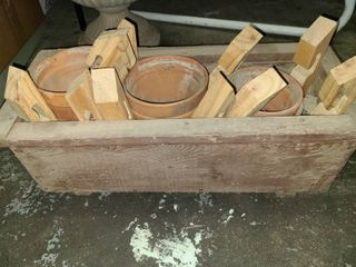 Wood Planter Box 9 x 25 x 11 in with Small Clay Pots and Stands