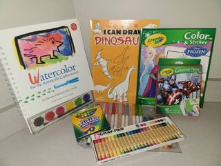 Coloring Books with Crayons Markers and Oil Pastels