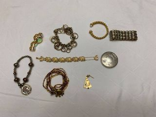 Assorted ladies jewelry six Bracelets  one watch  one pendant and one compact