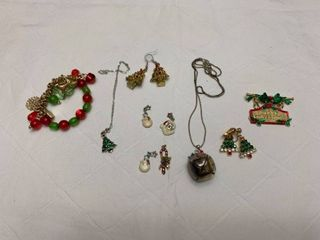 ladies jewelry end to Christmas necklaces  one bracelet  one pen  two pairs of pierced earrings and four pendants
