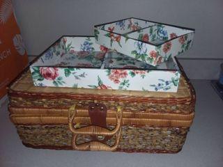 Wicker Basket Box with Organizer Trays