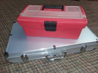 Red Toolbox with Grill Utensil Case