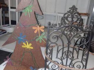 Metal Tree with Firefly lights 36 x 20 in with Plant Stand 10 x 19 x 19 in and Iron Yard Decor 28 x 17 in