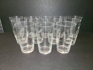 Etched Glasses lot of 12