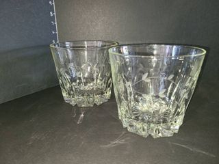 Pair of Etched Glass Ice Buckets