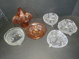 Glass Candy Dishes lot of 6