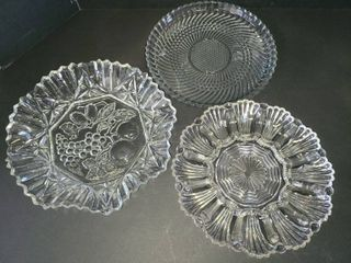 Glass Bowl Plate and Deviled Egg Plate