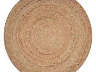 lR Home Natural Jute Brown Eco Friendly 8 Ft  Round Indoor Area Rug
