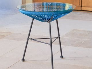 Sarcelles Modern Woven Wicker Patio Side Table with Glass Top by Corvus  Retail 85 99