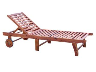 Outsunny Wooden Wood Outdoor Folding Chaise lounge Chair Recliner with Rolling Wheels   Teak  Retail 166 99