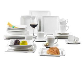 24 Piece Porcelain Dinnerware Set Green Stripe Patterns Plate Sets Retail 79 98