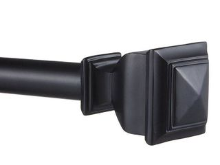 66 120  Napoleon Adjustable Curtain Rod and Coordinating Finial Set Matte Black   Exclusive Home