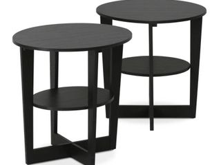 ONlY 1 Furinno 2 15019WN Oval End Table  Set of 2  Walnut