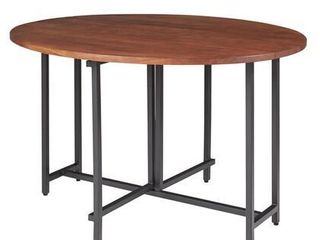 Bridgeport Warm Brown and Gunmetal Oval Dining Table  Retail 863 49