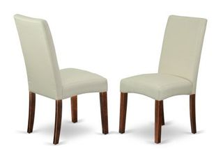 Parson Chair with Mahogany Finish leg and linen Fabric  Cream Color  Set of 2  Retail 160 19
