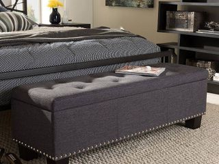 Baxton Studio Hannah Dark Grey Fabric Upholstered Storage Ottoman
