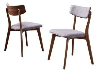 Chazz Mid century Fabric Dining Chair by Christopher Knight Home  Set of 2    Retail 183 99